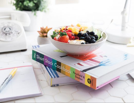 Bowl of fruit resting on a book