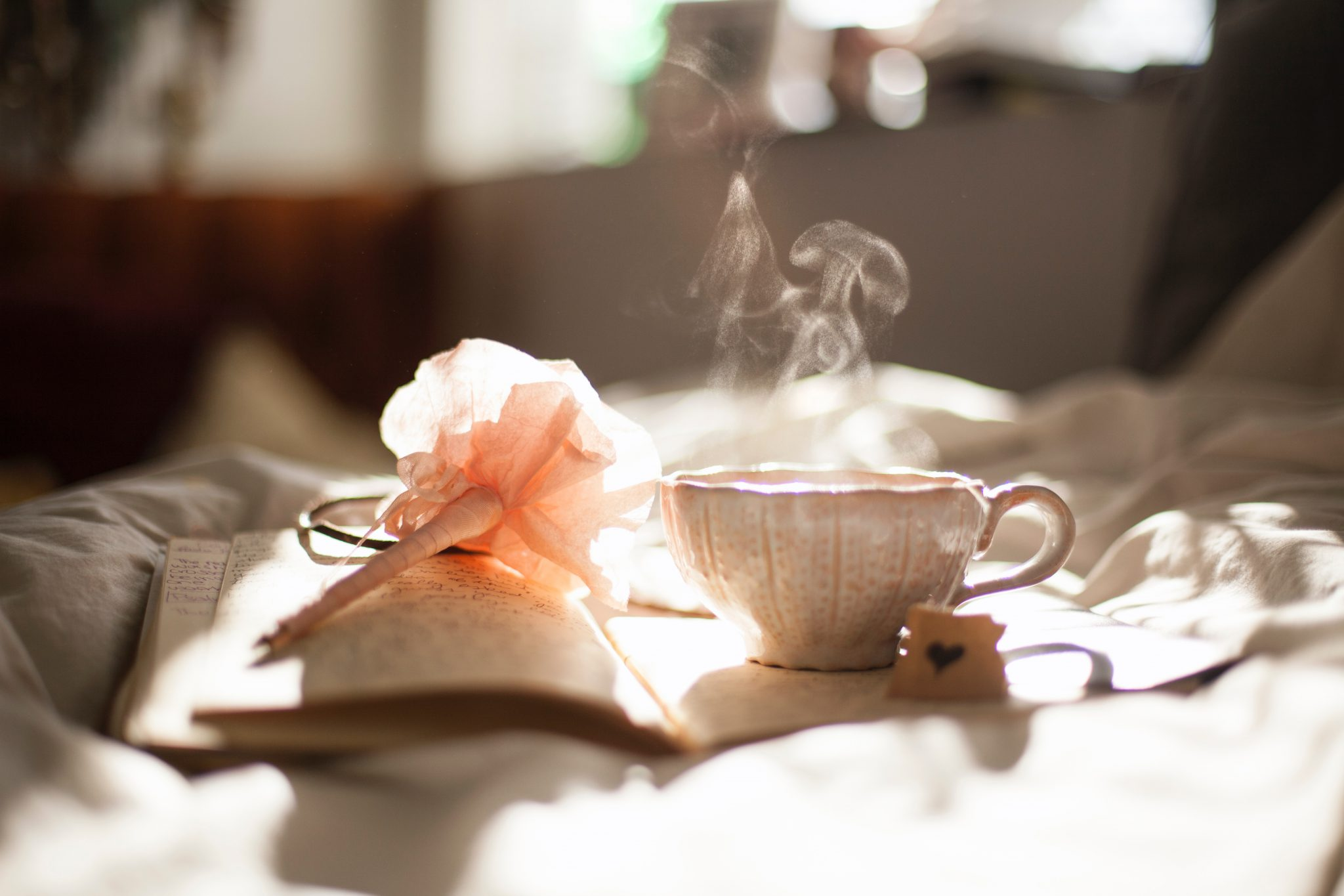 journal and a cup of tea